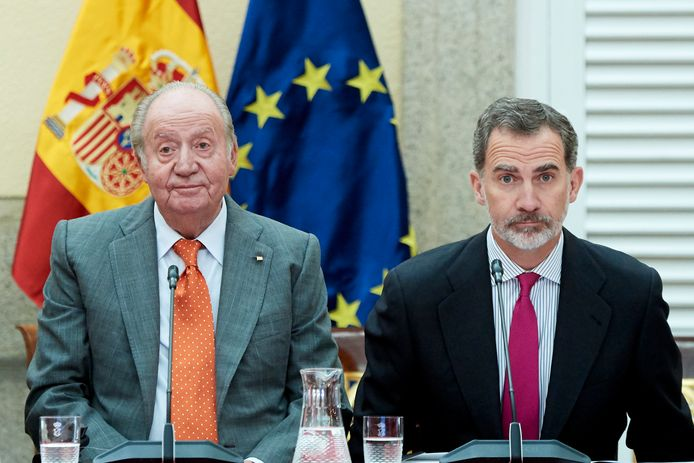 L'ancien roi Juan Carlos et son fils Felipe VI d'Espagne