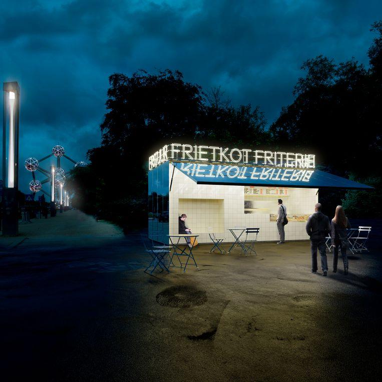 Het nieuwe ontwerp van Studio MOTO voor de iconische frituur aan het Atomium.