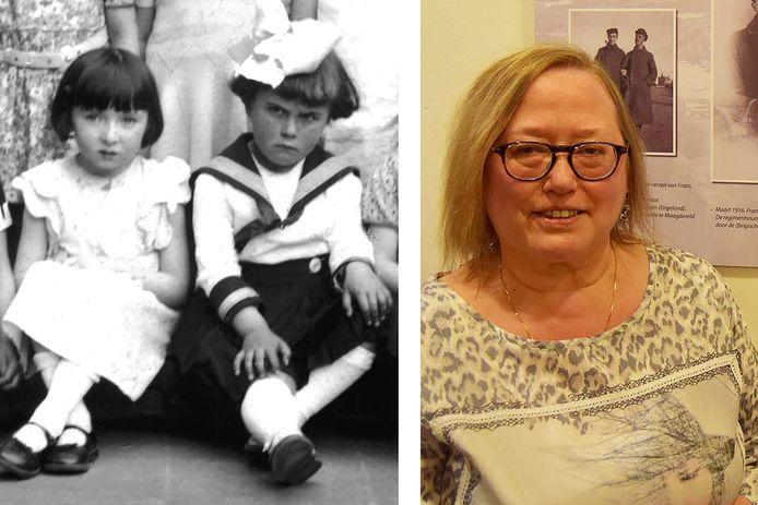 Sara Marmur (links op linkerfoto) en Rachel Verhulst op een foto uit de tweede kleuterklas in Temse. Gemeentearchivaris Digna Coppieters (rechterfoto) reconstrueerde haar levensverhaal en bezorgde de foto aan de Dossinkazerne.