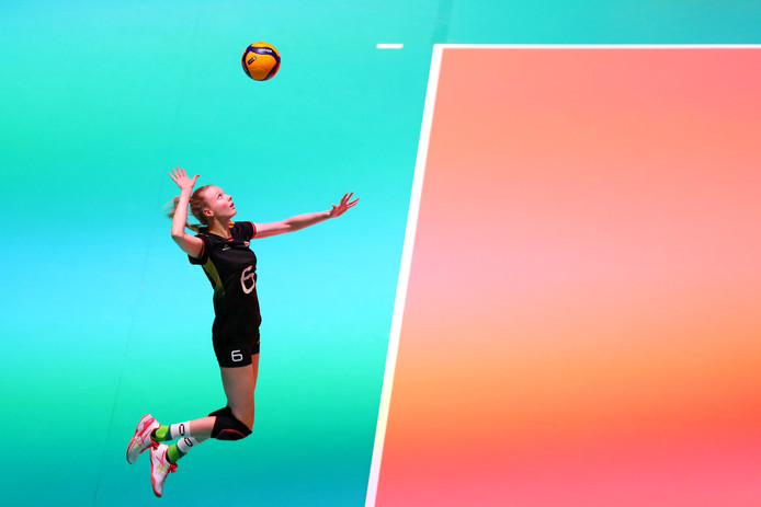 APELDOORN, NETHERLANDS - JANUARY 10: Jennifer Geerties of Germany serves during the Women CEV Tokyo Volleyball European Qualification 2020 match between Germany and Croatia held at Omnisport on January 10, 2020 in Apeldoorn, Netherlands. (Photo by Dean Mouhtaropoulos/Getty Images)