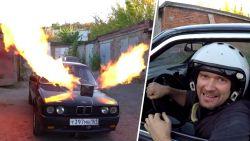 Amateur-uitvinder hangt motor van straaljager in oude BMW