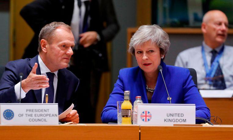 Europees president Donald Tusk met de Britse premier Theresa May in Brussel.