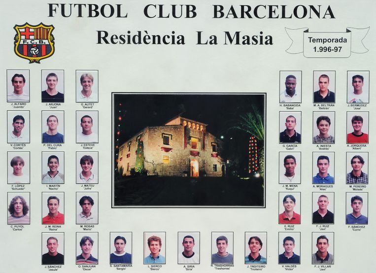 Een collage van spelers die in het seizoen 1996-1997 in La Masía vertoefden. Met onder meer Andrés Iniesta, Carles Puyol en Lionel Messi.