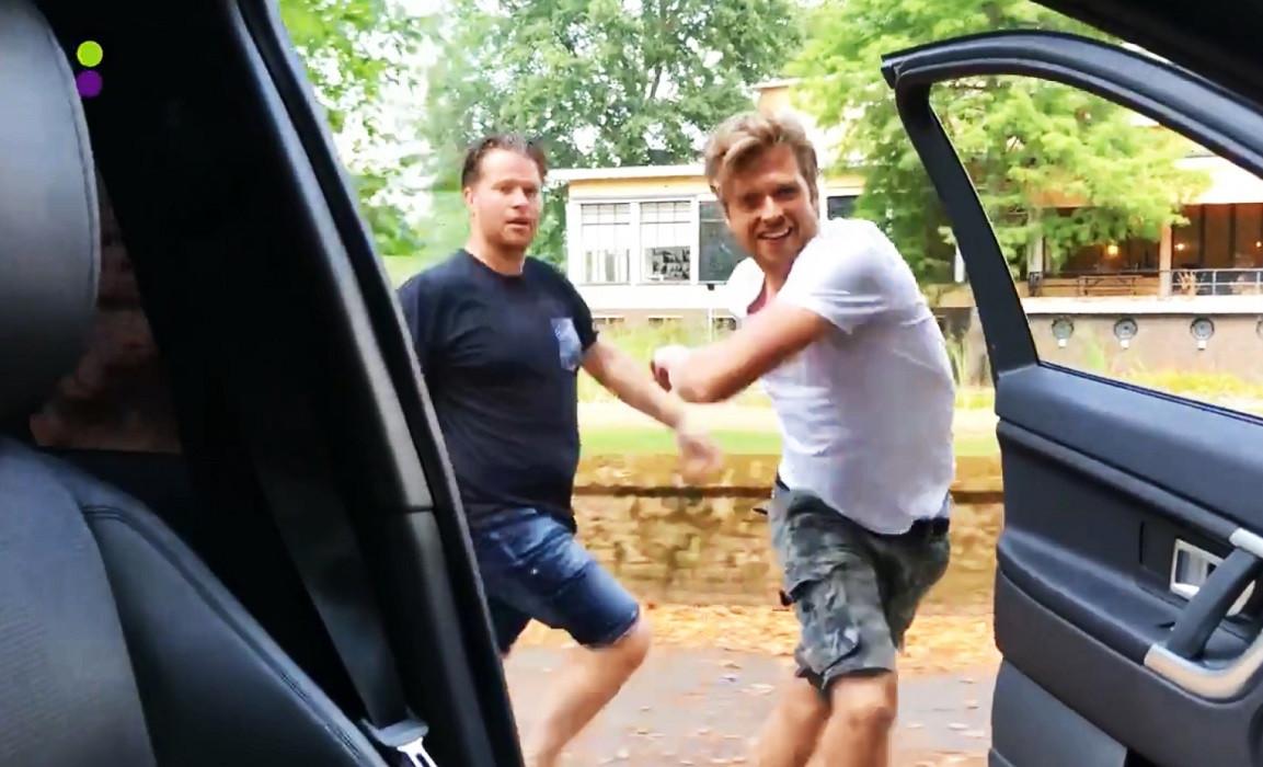 Radio 538-presentator Wietze de Jager en side-kick Chris Bergström tijdens hun challenge, afgelopen donderdag.