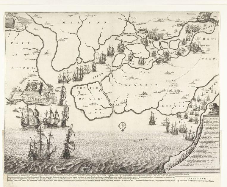Kaart van monding van de Theems met de Tocht naar Chatham, 1667, Michiel Comans (II), 1667, ets, h 422mm × b 562mm. Meer objectgegevens Beeld RV