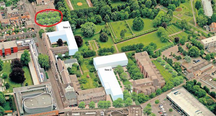 In rood de nieuwe entree stadspark, daarnaast fase 1 en 2.