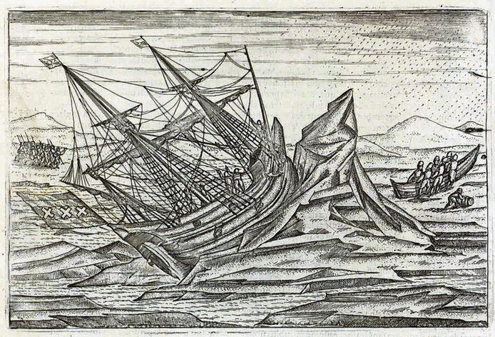 Afbeelding van de schipbreuk van Willem Barentsz in het Rijksmuseum