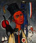 Zelfportret van Kees Bastiaans, met kat en hoge hoed, uit de jaren '60.