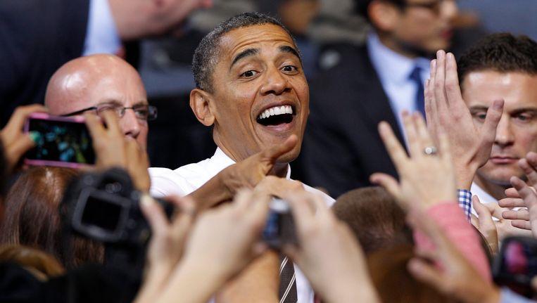 Barack Obama op campagne Beeld null