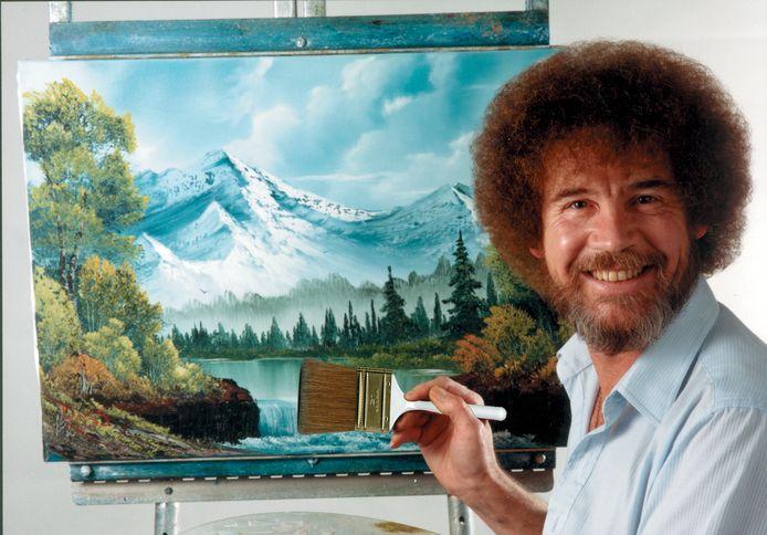 Wie kent dit karakteristieke hoofd niet van de televisieserie? De schilderijen van Bob Ross zijn te zien in Nederland.