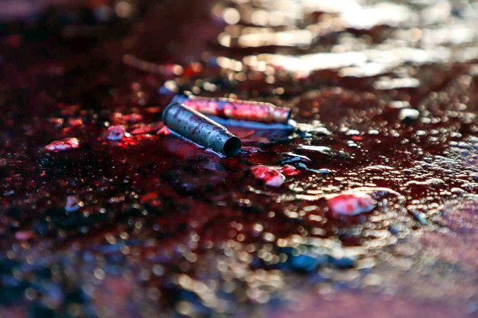 Patroonhulzen liggen in een bloedplas in de staten van Culiacan.