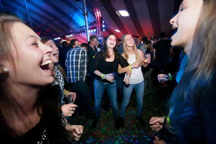 Een groepje vriendinnen zingt mee met de muziek op een tentfeest. Foto ter illustratie