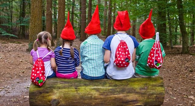 Op het kabouterpad in de Boswachterij Westerschouwen ga je op zoek naar rode puntmutsen.
