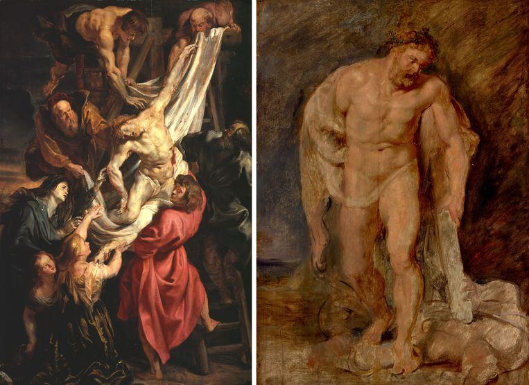 Links: Ook de dode Christus aan het kruis kreeg van Rubens het lichaam van een krachtpatser. Rechts: Hercules met de gevelde Tweedracht. Beeld Museum Boijmans Van Beuningen