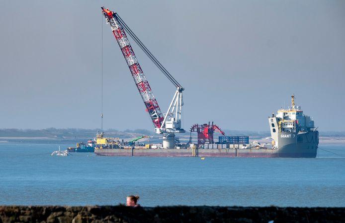 Vanaf de Giant 7 werden afgelopen week kabels gelegd in eerder gegraven sleuven. De kabels zorgen voor diverse verbindingen tussen windpark Borssele en de kust.