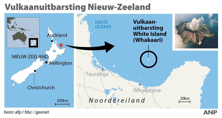 Vulkaanuitbarsting Nieuw-Zeeland. Locatie White Island op Noordereiland.