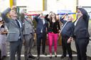 Burgemeester Sander Schelberg, Onno van Veldhuizen, Arjen Gerritsen (vanaf link) en Henk Bolk en Andries Heidema rechts