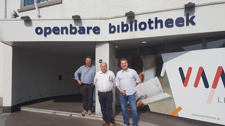 Stefan Poortmans, Bart Craane en Hans Woestenborghs voor de openbare bibliotheek die tijdelijk het gemeentehuis zal worden.