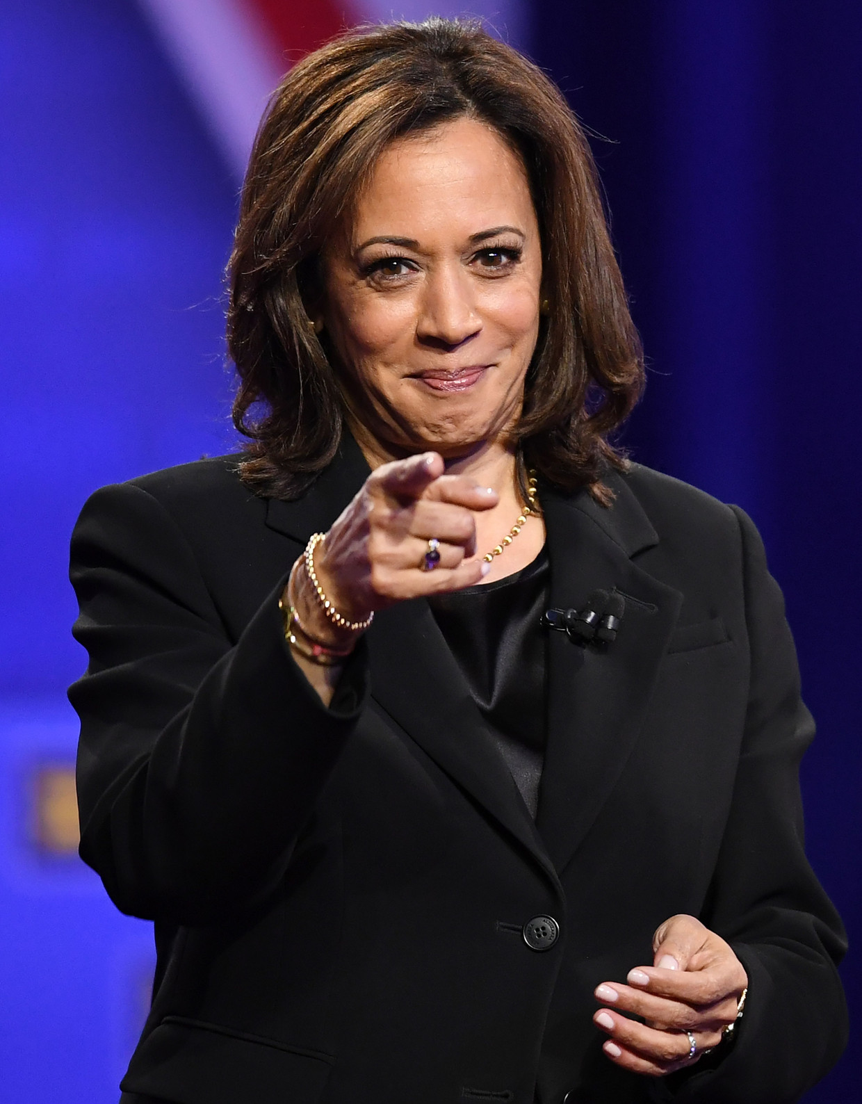 Harris vorig jaar, toen nog zelf in de race als presidentskandidaat, tijdens een CNN-debat.  Beeld AFP