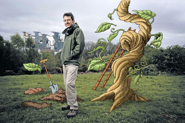 George Monbiot. Beeld Illustratie Hans Klaverdijk - Foto Matt Writtle /Hollandse Hoogte
