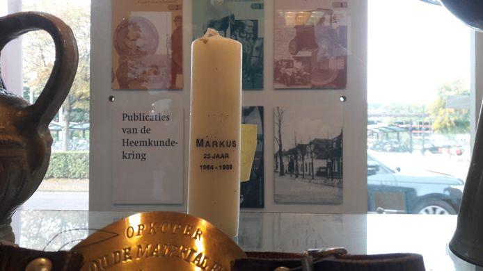 Een kaars herinnert in het heemcentrum van De Kleine Meijerij aan de Oisterwijkse Markus-parochie