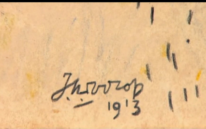 Tekening van Jan Toorop, Still uit uitzending Tussen Kunst en Kitsch woensdagavond