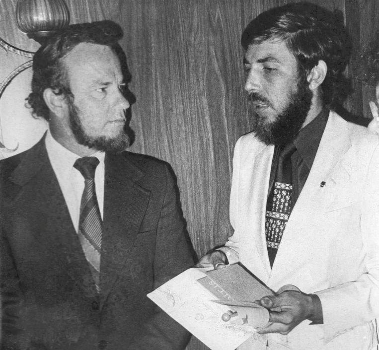 Jopie met politicus Betico Croes Beeld Abraham, Archivo Bonairu
