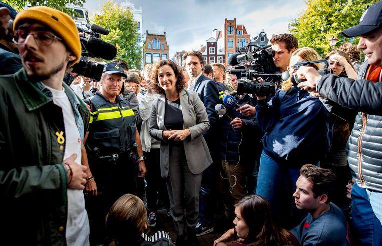 Burgemeester Halsema was naar het P.C. Hoofthuis gekomen in een ultieme poging een ontruiming te voorkomen Beeld anp