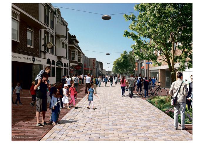 Rijssen verbetert het centrum. Hier een impressie van de Haarstraat, gezien vanaf het Schild.