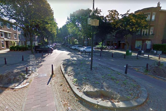 Paaltjes op de fietspaden op de kruising Da Costalaan-Caan van Necklaan in Rijswijk.