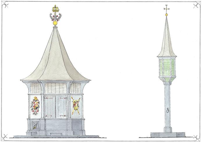 Het ontwerp voor het puthuis en Onze-Lieve-Vrouwehuisje in Den Bosch.