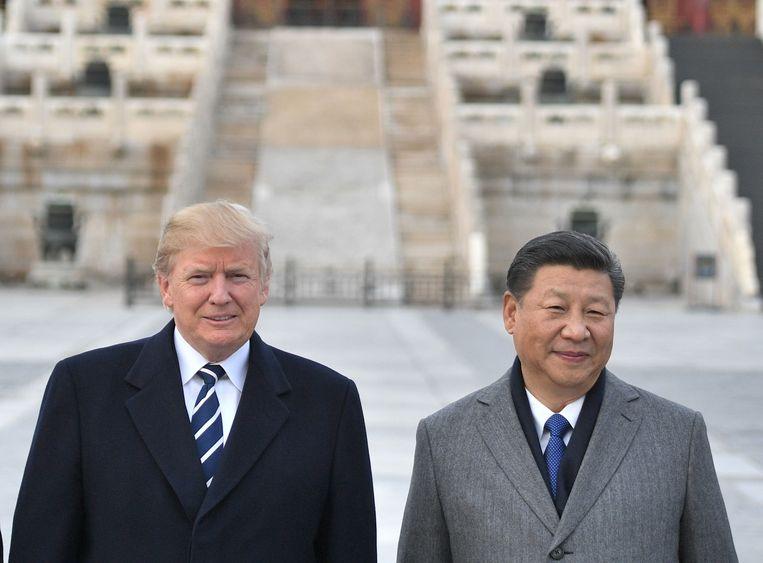 Donald Trump (L) en Xi Jinping (R)
