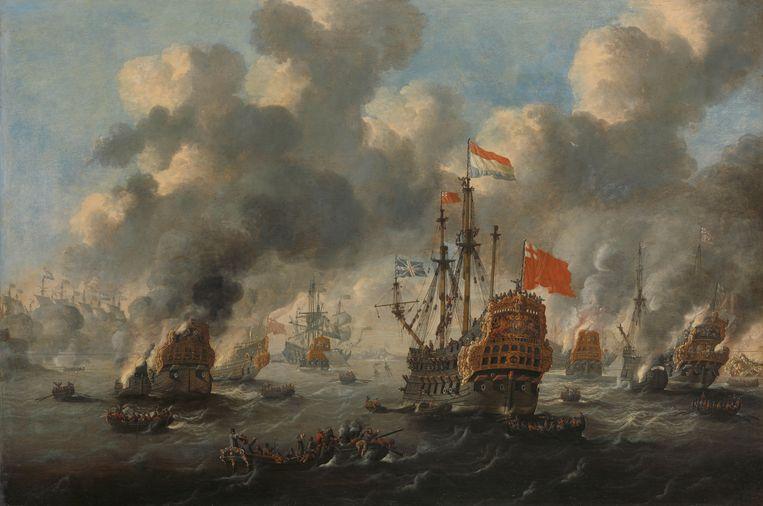 Het verbranden van de Engelse vloot voor Chatham, 20 juni 1667, Peter van de Velde, 1667 - 1700 Beeld Rijksmuseum