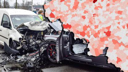 IN KAART. Zoveel verkeersslachtoffers vielen er in uw gemeente
