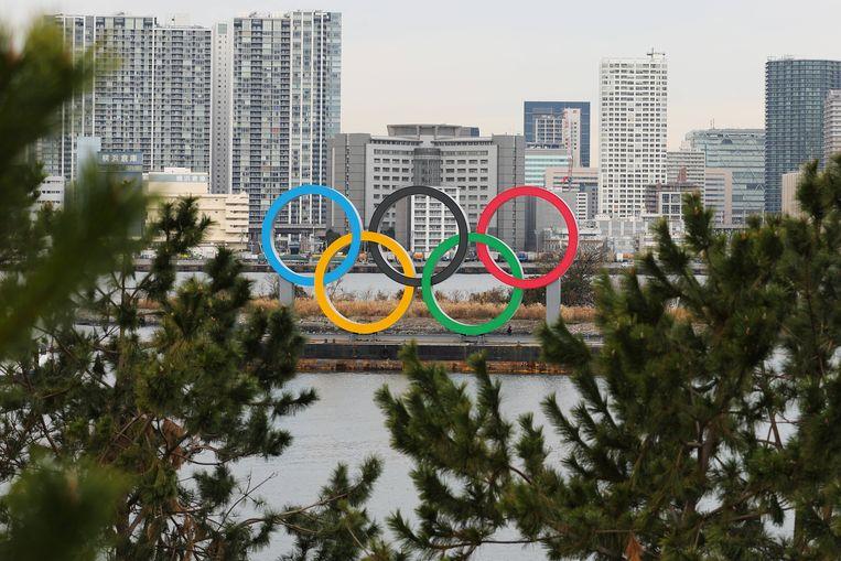 De olympische ringen in Odaiba Marine Park, Tokio. Beeld BSR Agency