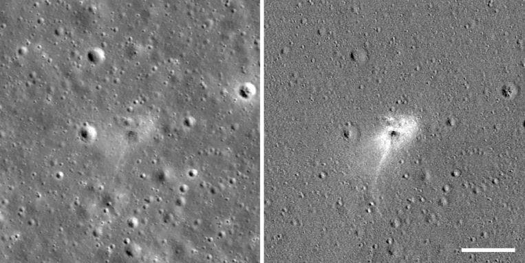 De vlek werd veroorzaakt door de crash van de Israëlische maanlander Beresheet.