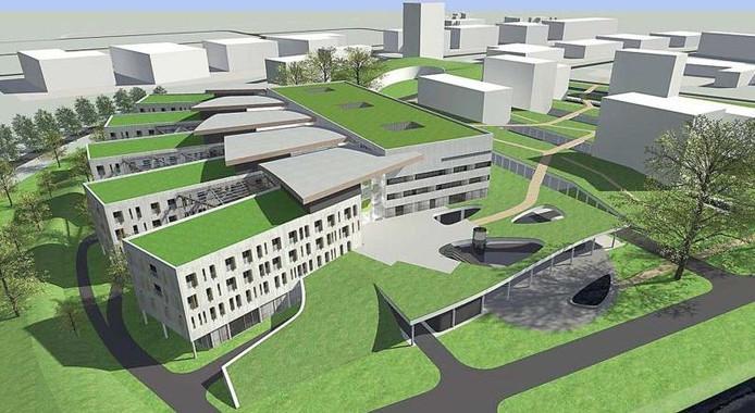 Impressie van wat het had moeten worden: 'Hansa Oncology Clinics', een groot specialistisch kankerziekenhuis langs de A77 in Boxmeer.
