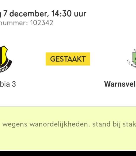 'Voetbalwedstrijd tussen lagere elftallen van Columbia uit Apeldoorn en Warnsveldse Boys gestaakt wegens racisme'