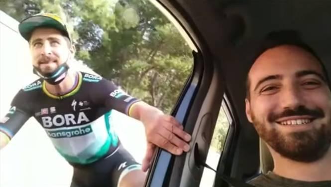 Hilarische beelden: Peter Sagan is weg naar teambus kwijt na tweede Girorit en krijgt lift van enkele fans