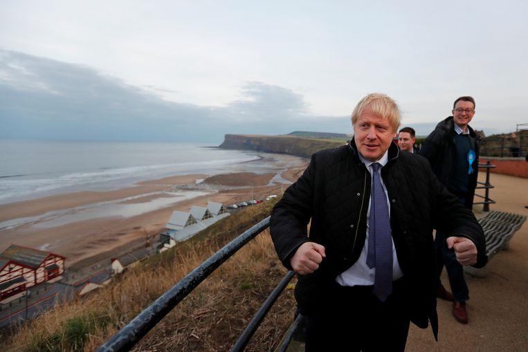 De Britse premier Boris Johnson op verkiezingscampagne.