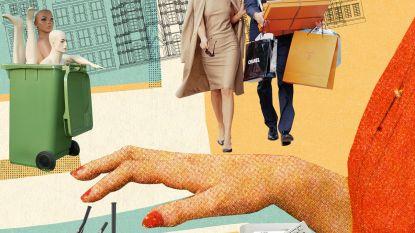 Hoe de bakstenen modewinkels zichstaande proberen te houden
