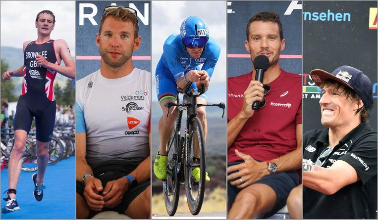 Een greep uit de favorieten: vlnr. Alistair Brownlee, Bart Aernouts, Patrick Lange, Jan Frodeno en Sebastian Kienle.