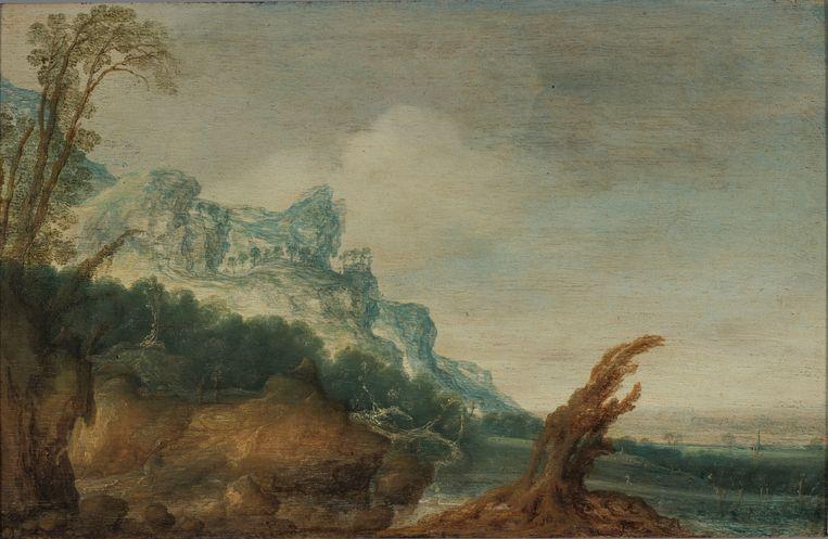 'Berglandschap met boomstronk', omstreeks 1620 geschilderd door Jacob van Geel, maar schuilging onder de naam van de (Joodse) kunstschilder en verzamelaar Joseph Henri Gosschalk. Beeld Gerrit-jan Ek