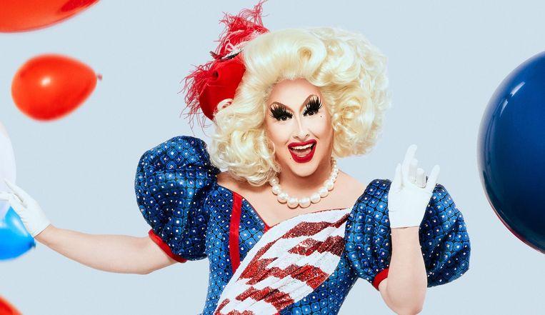 Joey Gugliemelli als drag queen Sherry Pie in RuPaul's Drag Race. Beeld null