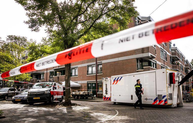 De plek vlakbij de schietpartij in Amsterdam-West. Beeld ANP