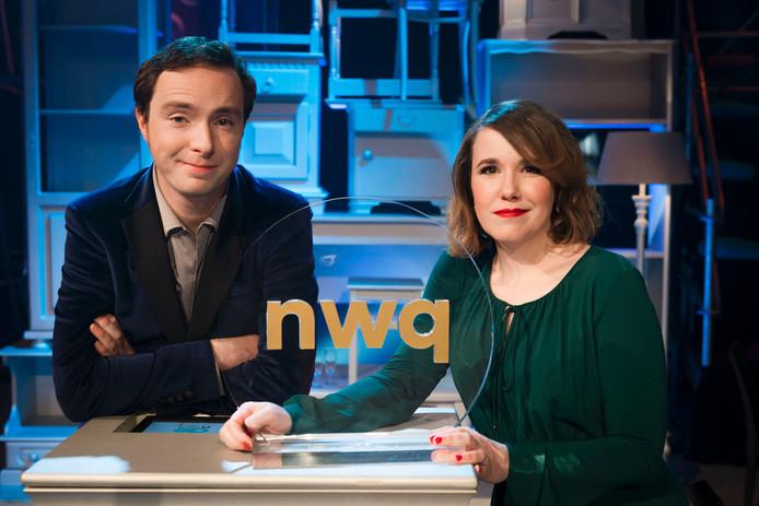 Presentatoren Ionica Smeets en Pieter Hulst.