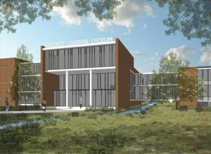 Een impressie van het nieuwe tussengebouw van het Lorentz Casimir Lyceum in Eindhoven. Dit is een eerste schets. Het ontwerp moet nog verder uitgewerkt worden.