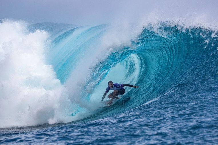 De Australische surfer Jack Freestone tijdens een wedstrijd in Tahiti in 2019. Beeld AFP