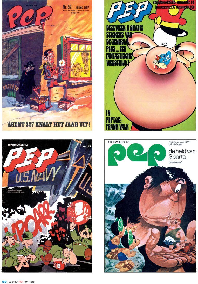 Pep-covers van Martin Lodewijk, Peter de Smet, Daan Jippes en Dick Matena. Beeld