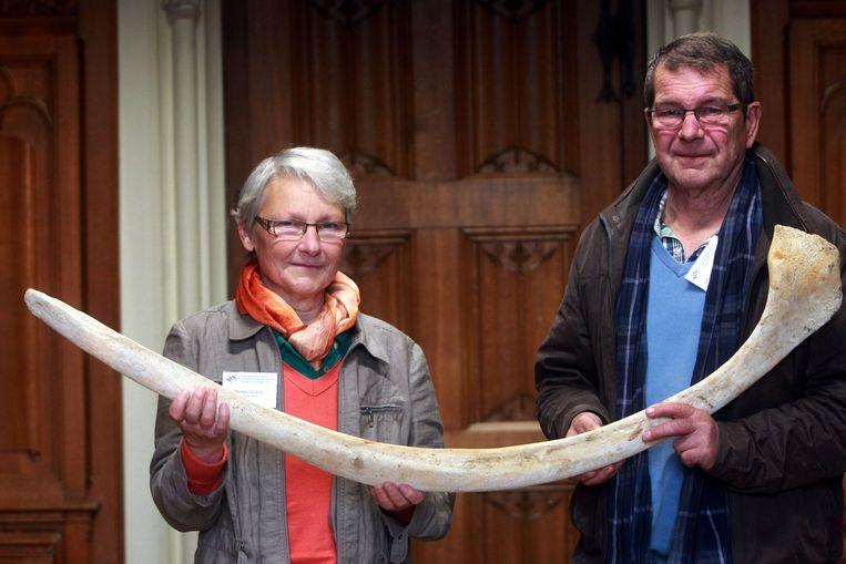Maarleen Savels en Willy Vanlandschoot uit Heist met de walvisrib.